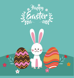happy easter bunny egg flowers vector image vector image