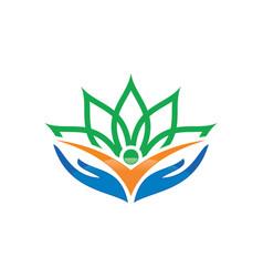 human hand flower logo image vector image