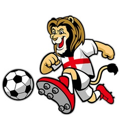 lion playing soccer vector image vector image