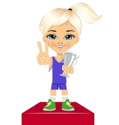 Little cute girl celebrates her silver trophy vector image