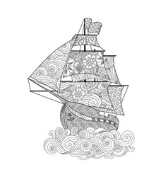ornate image of ship on the wave in zentangle vector image vector image