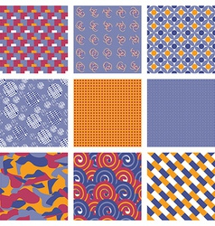 Set of Geometric Seamless Pattern Backgrounds vector image