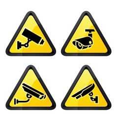 CCTV triangular labels set symbol security camera vector image vector image