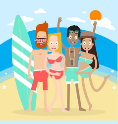 character people on the beach vector image