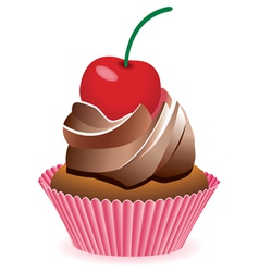 chocolate cupcake vector image