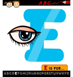 letter e with eye cartoon vector image