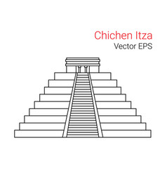 line flat icon of chichen itza mexico vector image