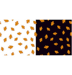 seamless pattern set with orange leaves on white vector image vector image