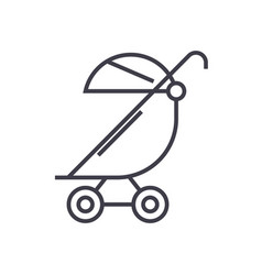 Stroller buggy line icon sign vector