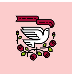 White dove and roses traditional American tattoo vector image vector image