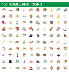 100 homeland icons set cartoon style vector image vector image