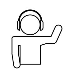 disk jockey silhouette isolated icon design vector image