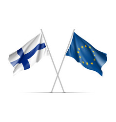 finland and european union waving flags vector image vector image