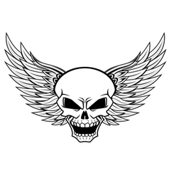 Skull with angel wings vector image