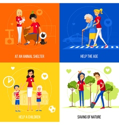 Volunteers Action Concept On Colored Background vector image vector image