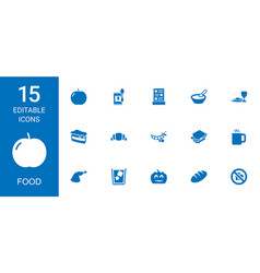 15 food icons vector