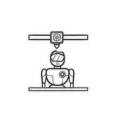 3d printer printing robot hand drawn outline vector image