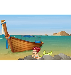 A mermaid at sea near wooden boat vector