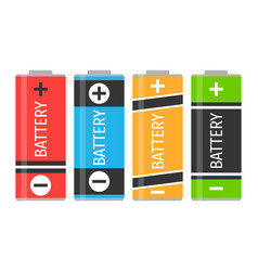 a set of four colorful batteries vector image