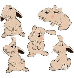 a set of rabbits cartoon vector image