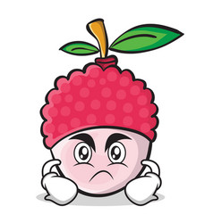 angry face lychee cartoon character style vector image