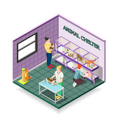 Animal shelter isometric composition vector
