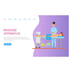 Apparatus massage for back of lying woman vector