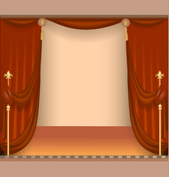 Background with theatre stage with red curtains vector