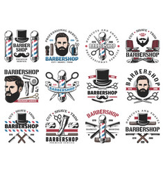 barbershop icons beard shaving and haircut salon vector image