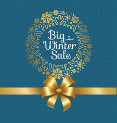 big winter sale poster with gift bow decor frame vector image