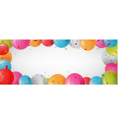 birthday banner with balloon and confetti vector image