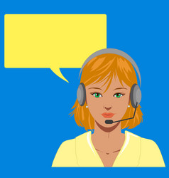 Blond telephone operator vector