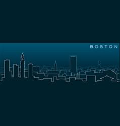 Boston multiple lines skyline and landmarks vector