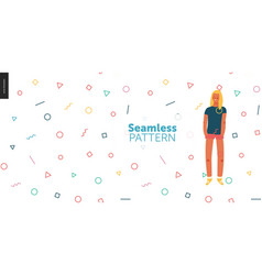 bright people portraits - geometry seamless vector image