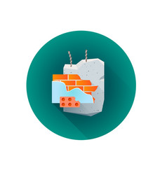 Building rubble waste icon vector