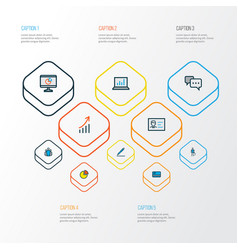 business icons colored line set with vector image