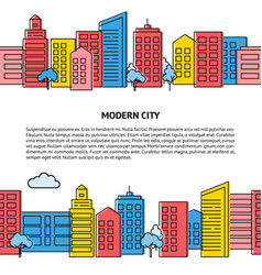 Card template with seamless city skyline in vector