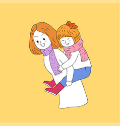 cartoon cute autumn mother and daughter vector image