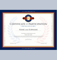 certificate of participation template with laurel vector image vector image