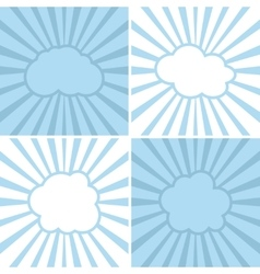 Clouds flat icons on striped background vector image