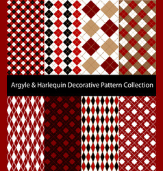 Collection argyle and harlequin red patterns vector