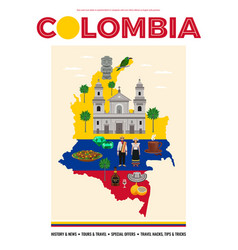 Colombia travel poster vector