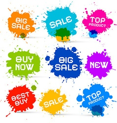 Colorful Icons - Sale Blots - Splashes Labels vector image