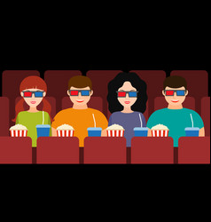 company of two couples in the cinema in 3d glasses vector image