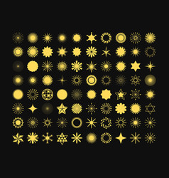 complete set of 80 golden stars signs and symbols vector image