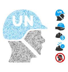 Dash mosaic united nations soldier helmet icon vector