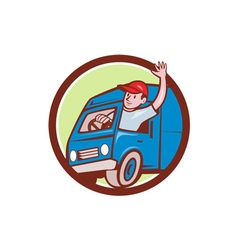 Delivery Man Waving Driving Van Circle Cartoon vector