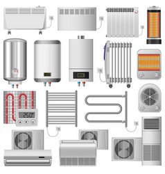 Electric heater device mockup set realistic style vector