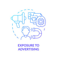 Exposure to advertising blue gradient concept icon vector