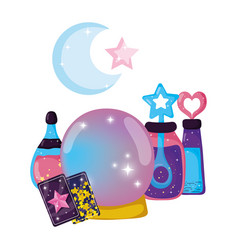 Fairytale crystal ball with potion bottles vector